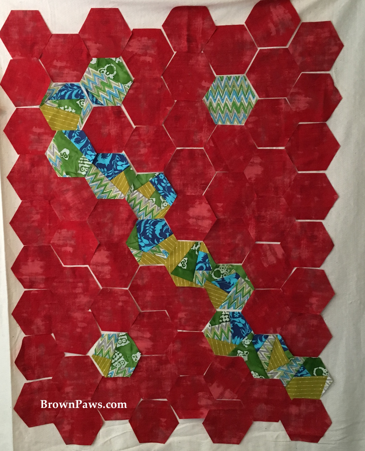 Scrappy Hexagon Quilt Top