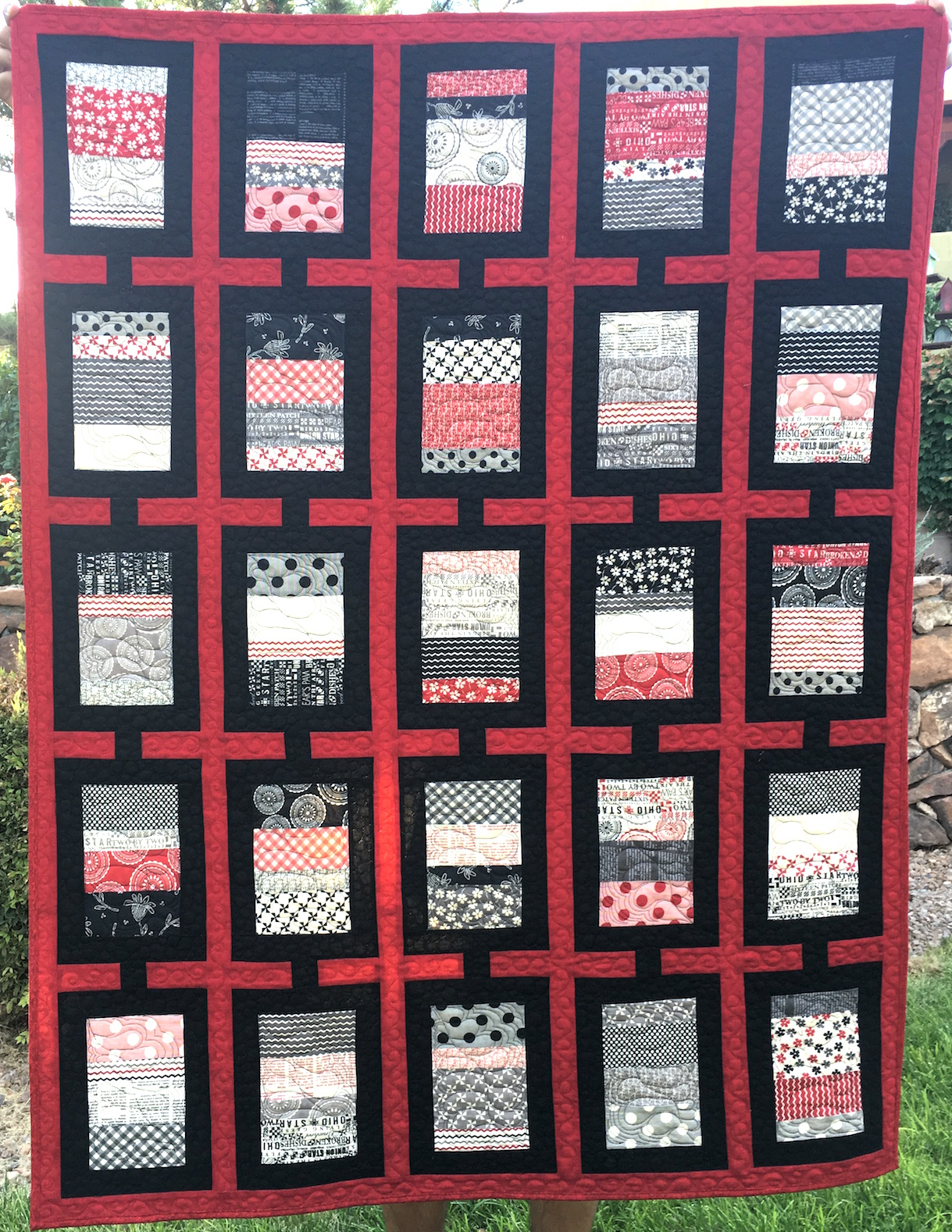 Red, White and Black Coin Quilt